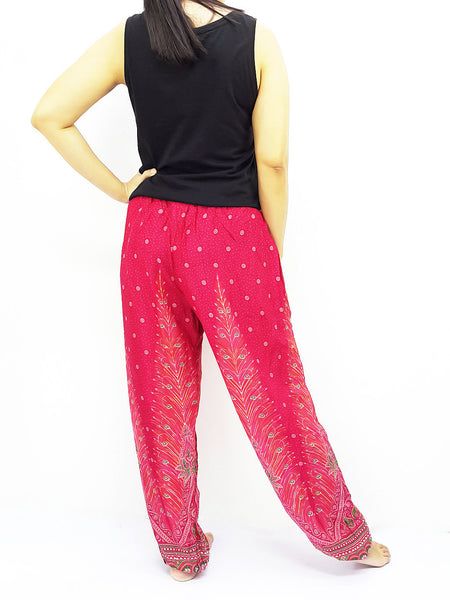 ST110 Rayon Bohemian Trousers Hippie Boho Pants Feather Hot Pink, NaughtyGirl, HaremPantsThai