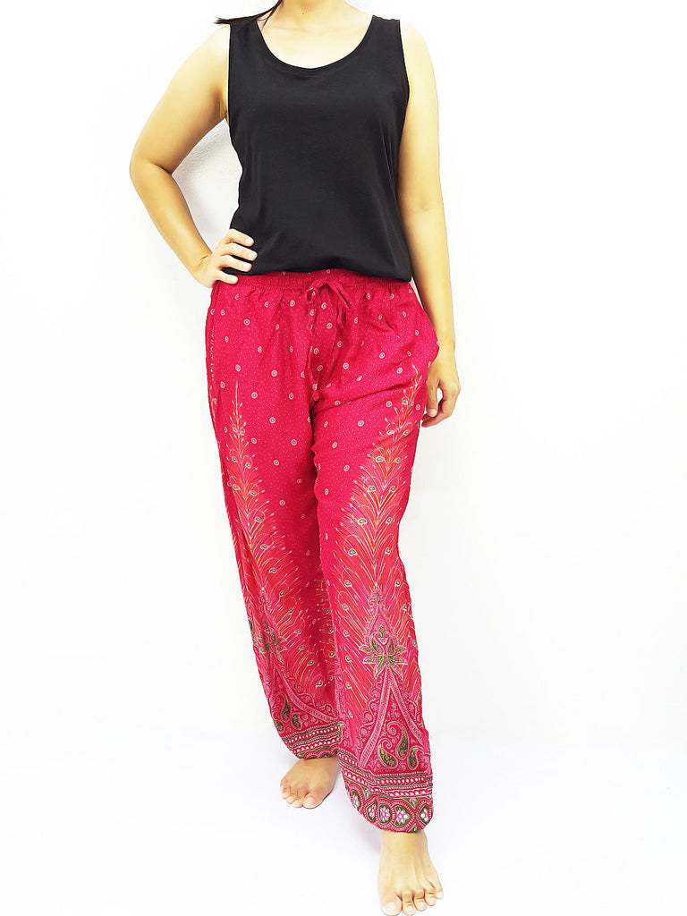 ST110 Thai Women Clothing Comfy Rayon Bohemian Trousers Hippie Baggy Genie Boho Pants Feather Hot Pink