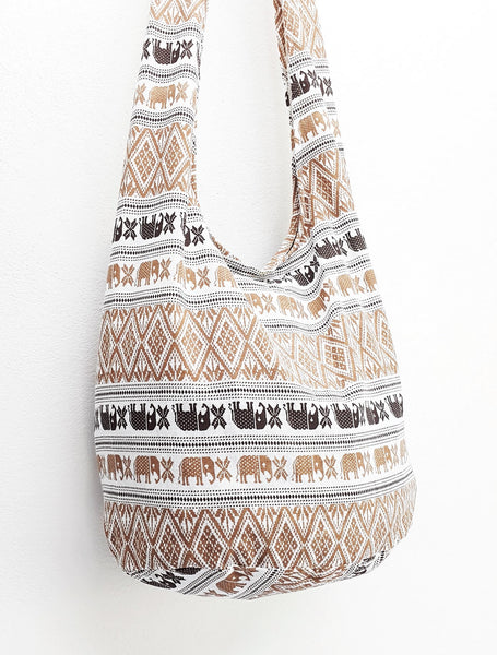 Women bag Handbags Cotton bag Elephant bag Hippie Hobo Boho bag Shoulder bag Sling bag bag Tote Crossbody bag Purse White Brown