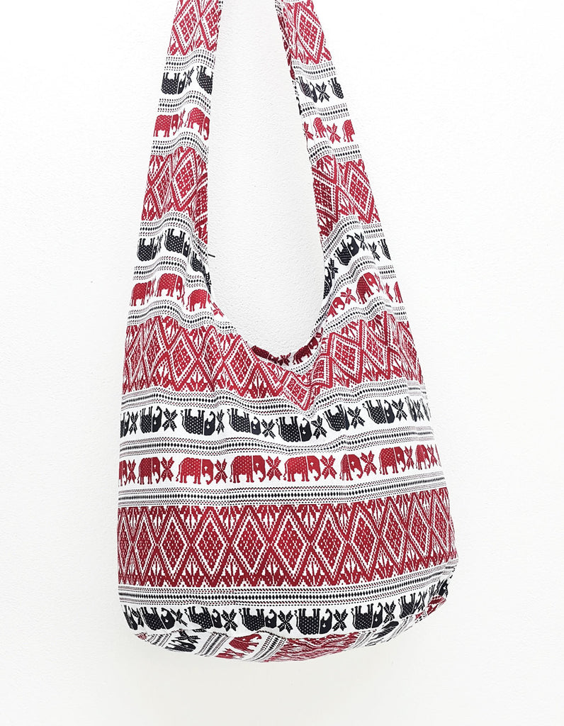 Cotton Handbags Elephant bag Hippie Hobo Boho bag Shoulder bag Sling bag Tote Crossbody bag White Red, VeradaShop, HaremPantsThai