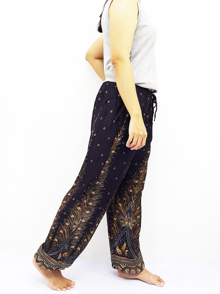 ST102 Rayon Bohemian Trousers Hippie Boho Pants Feather Black, NaughtyGirl, HaremPantsThai