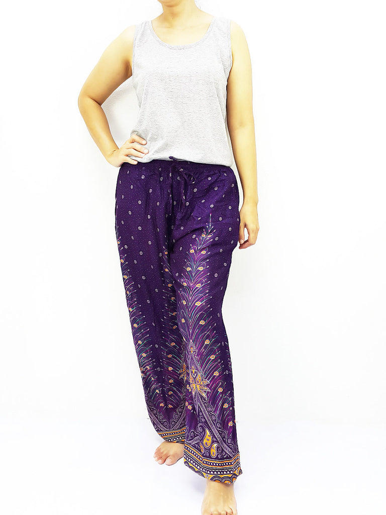 ST103 Thai Women Clothing Comfy Rayon Bohemian Trousers Hippie Baggy Genie Boho Pants Feather Purple