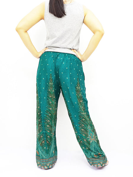 ST104 Rayon Bohemian Trousers Hippie Boho Pants Feather Teal Green, NaughtyGirl, HaremPantsThai