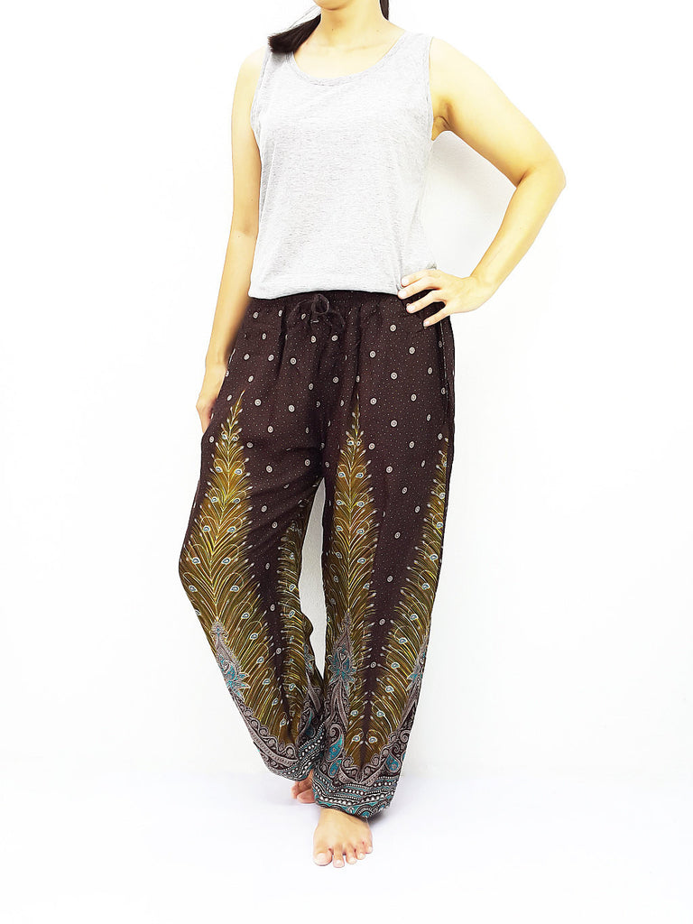 ST106 Thai Women Clothing Comfy Rayon Bohemian Trousers Hippie Baggy Genie Boho Pants Feather Brown
