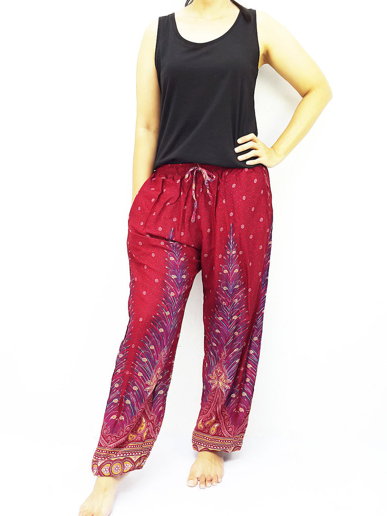 ST108 Thai Women Clothing Comfy Rayon Bohemian Trousers Hippie Baggy Genie Boho Pants Feather Red