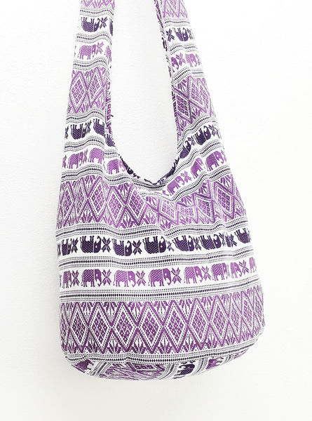 Cotton Handbags Elephant bag Hippie Hobo Boho bag Shoulder bag Sling bag Tote Crossbody bag White Purple, VeradaShop, HaremPantsThai