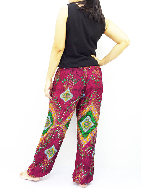 ST113 Rayon Bohemian Trousers Hippie Boho Pants Miracle Red, NaughtyGirl, HaremPantsThai