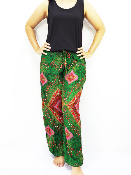 ST114 Thai Women Clothing Comfy Rayon Bohemian Trousers Hippie Baggy Genie Boho Pants Miracle Green