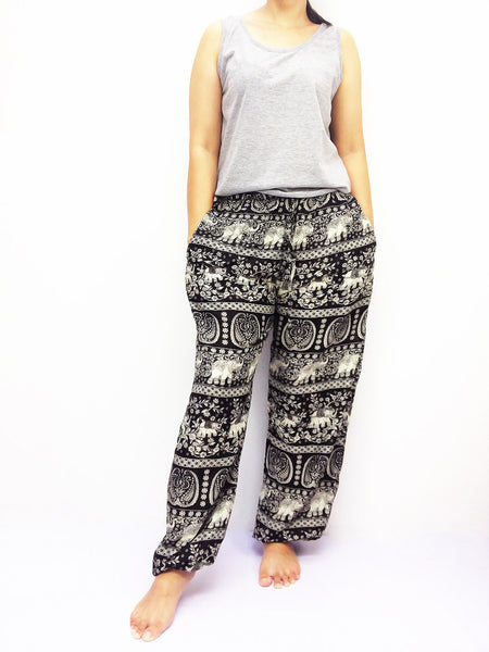 ST119 Thai Women Clothing Comfy Rayon Bohemian Trousers Hippie Baggy Genie Boho Pants Elephant Black
