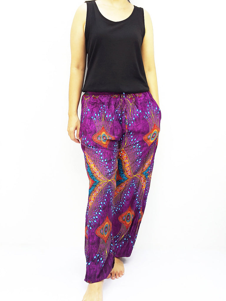 ST111 Thai Women Clothing Comfy Rayon Bohemian Trousers Hippie Baggy Genie Boho Pants Miracle Purple