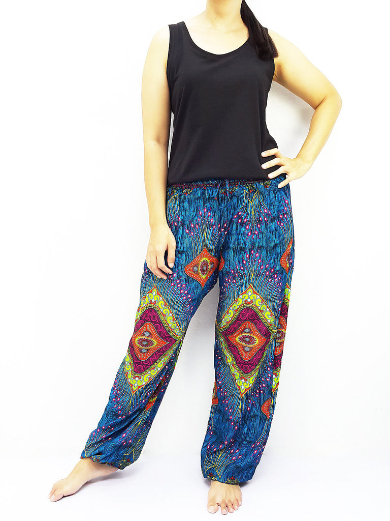 ST112 Thai Women Clothing Comfy Rayon Bohemian Trousers Hippie Baggy Genie Boho Pants Miracle Blue