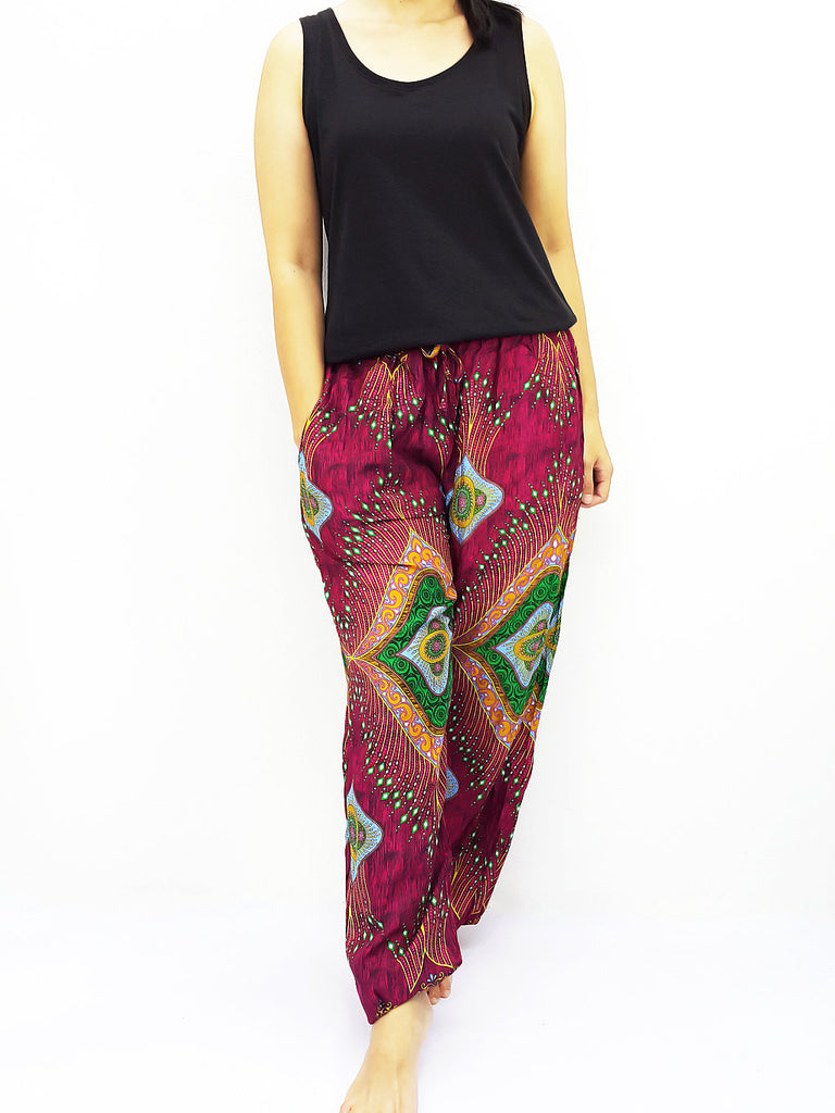 ST113 Thai Women Clothing Comfy Rayon Bohemian Trousers Hippie Baggy Genie Boho Pants Miracle Red