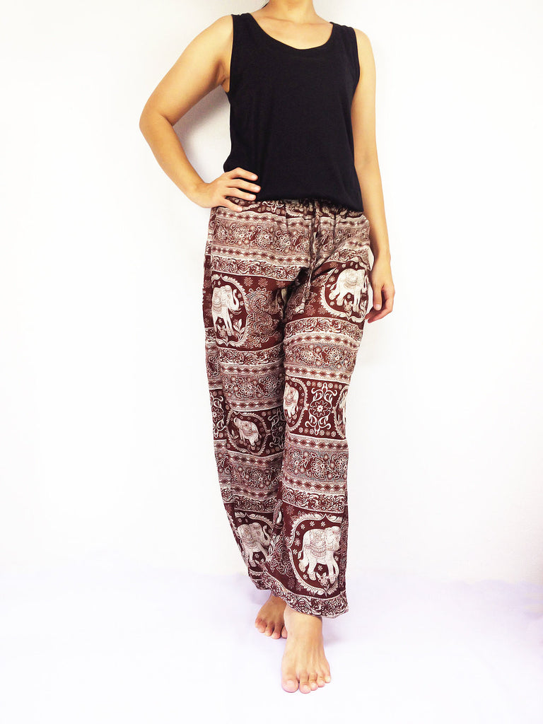 ST115 Thai Women Clothing Comfy Rayon Bohemian Trousers Hippie Baggy Genie Boho Pants Elephant Brown