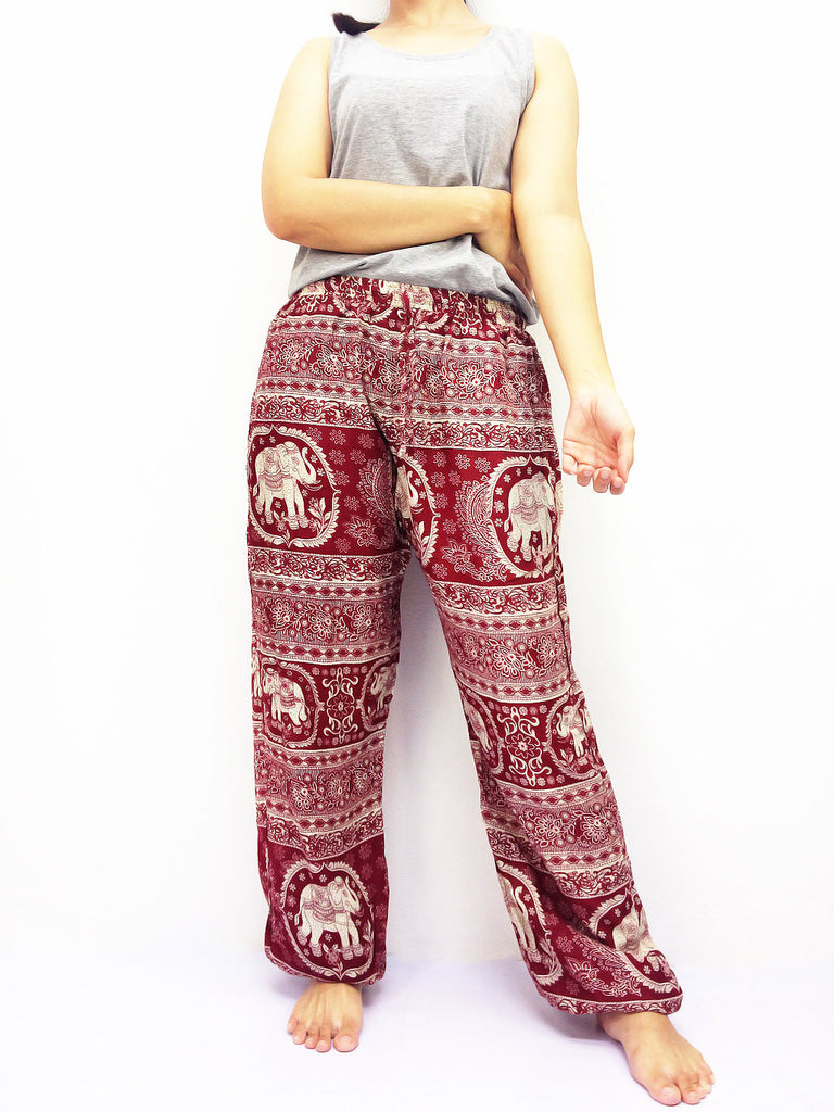 ST124 Thai Women Clothing Comfy Rayon Bohemian Trousers Hippie Baggy Genie Boho Pants Elephant Red