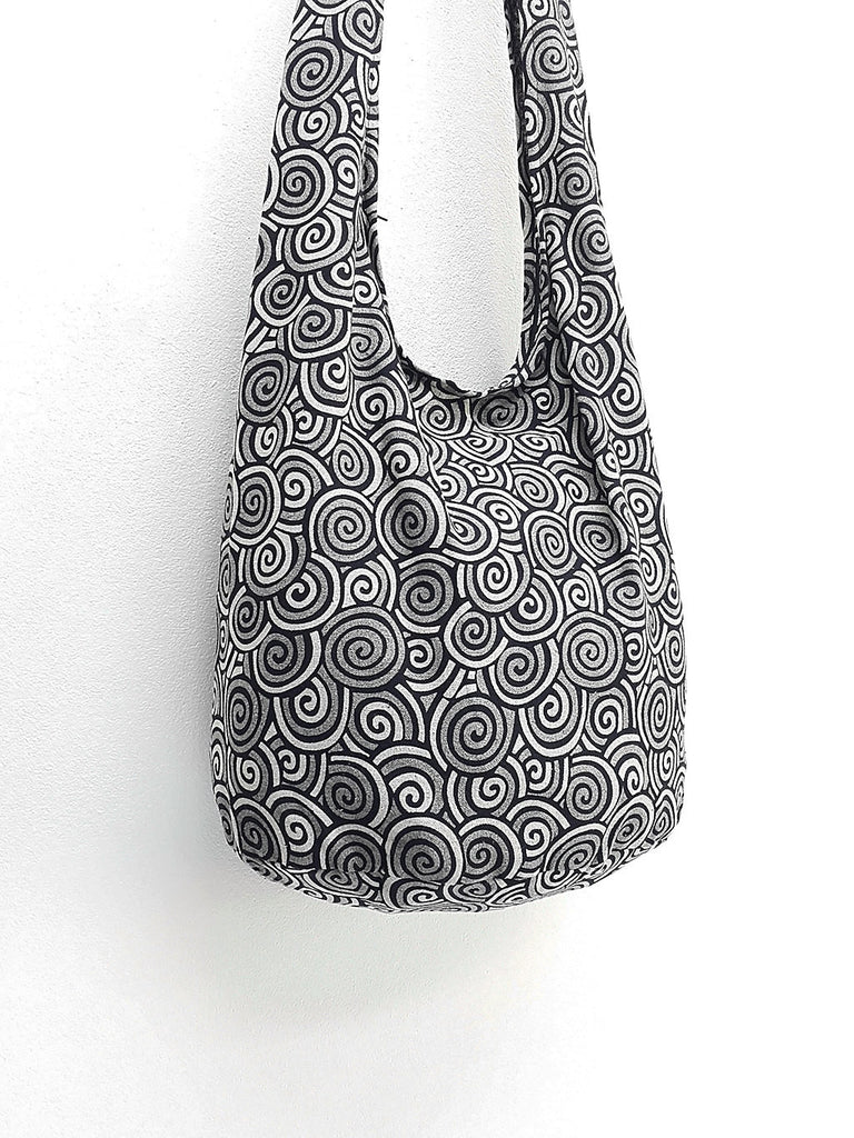 Cotton Handbags Hippie bag Hobo bag Boho bag Shoulder bag Sling bag Tote bag Crossbody bag Swirl Black, VeradaShop, HaremPantsThai