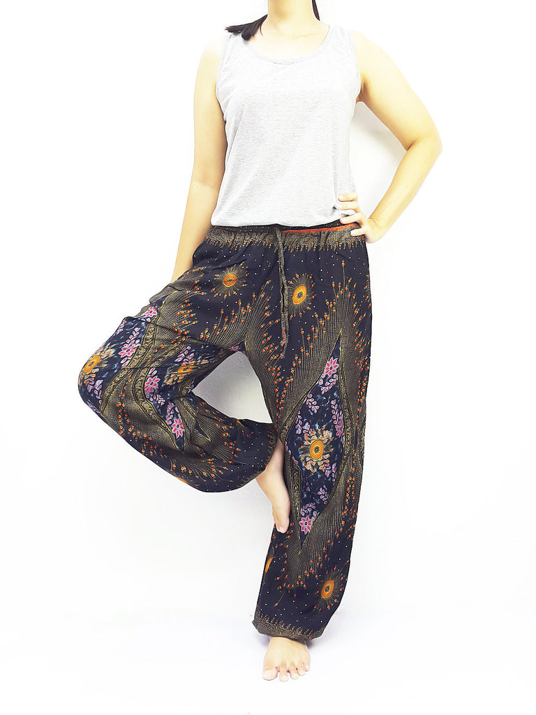 ST126 Thai Women Clothing Comfy Rayon Bohemian Trousers Hippie Baggy Genie Boho Pants Peacock Black