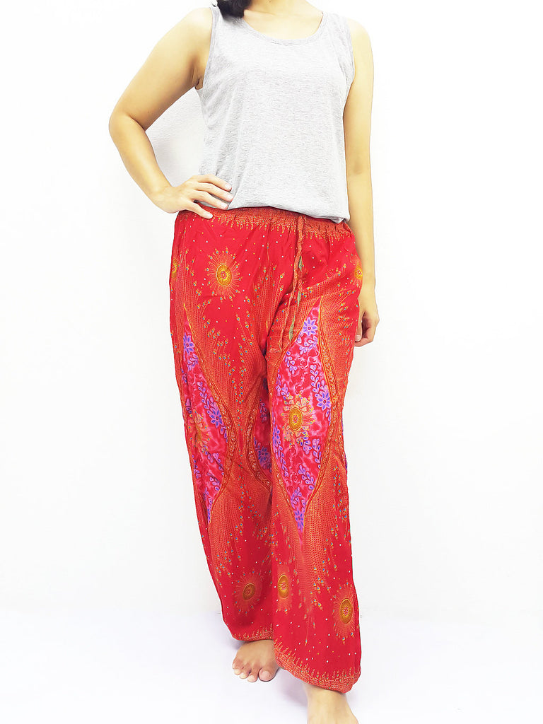 ST127 Thai Women Clothing Comfy Rayon Bohemian Trousers Hippie Baggy Genie Boho Pants Peacock Red