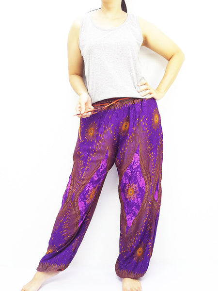 ST128 Thai Women Clothing Comfy Rayon Bohemian Trousers Hippie Baggy Genie Boho Pants Peacock Purple