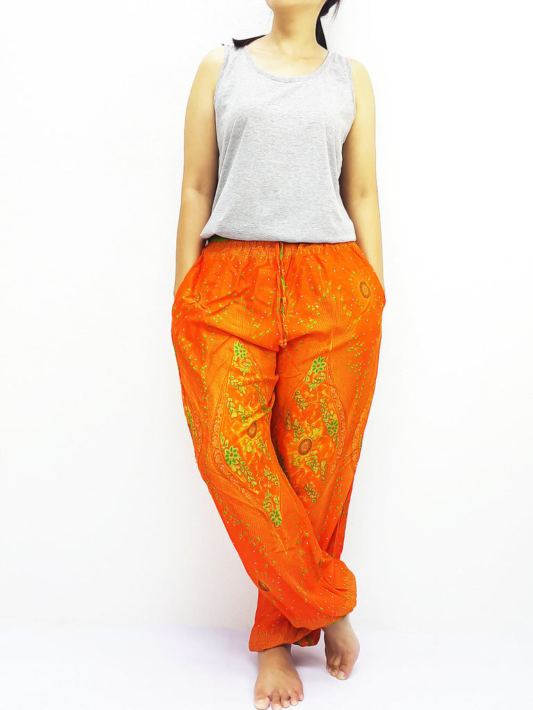ST129 Thai Women Clothing Comfy Rayon Bohemian Trousers Hippie Baggy Genie Boho Pants Peacock Orange