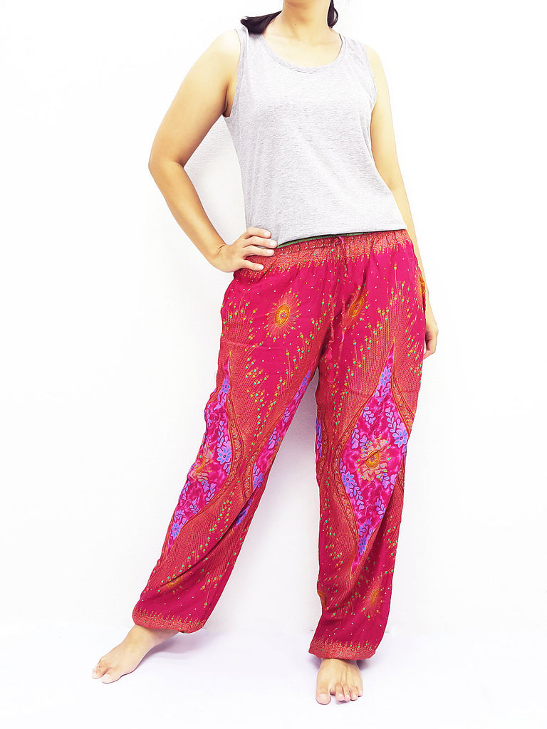 ST130 Thai Women Clothing Comfy Rayon Bohemian Trousers Hippie Baggy Genie Boho Pants Peacock Orange