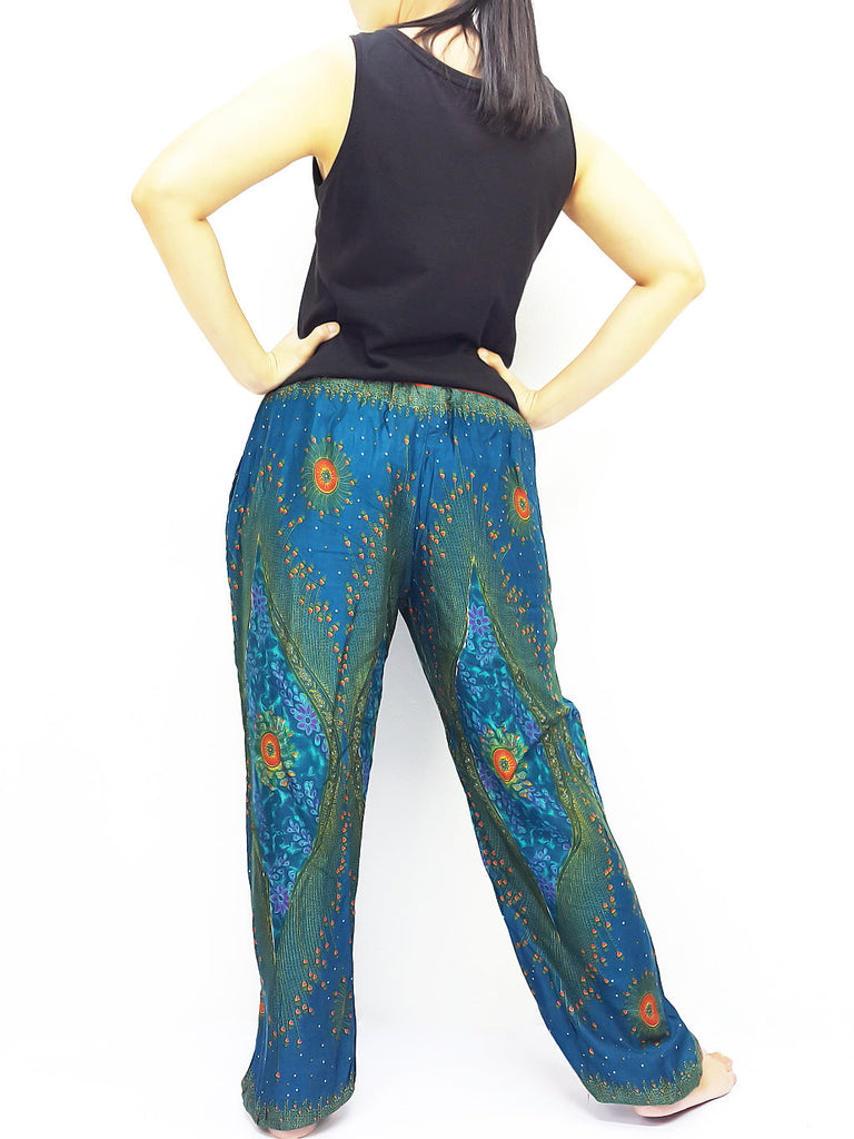 ST132 Thai Women Clothing Comfy Rayon Bohemian Trousers Hippie Baggy Genie Boho Pants Peacock Green Teal