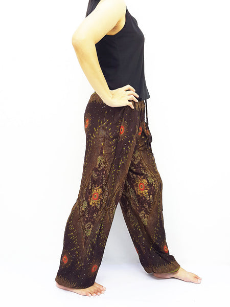 ST134 Thai Women Clothing Comfy Rayon Bohemian Trousers Hippie Baggy Genie Boho Pants Peacock Brown