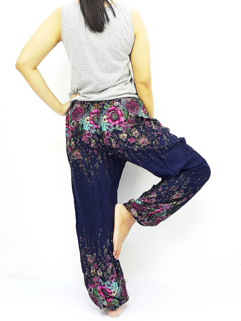ST137 Thai Women Clothing Comfy Rayon Bohemian Trousers Hippie Baggy Genie Boho Pants Flower Navy Blue