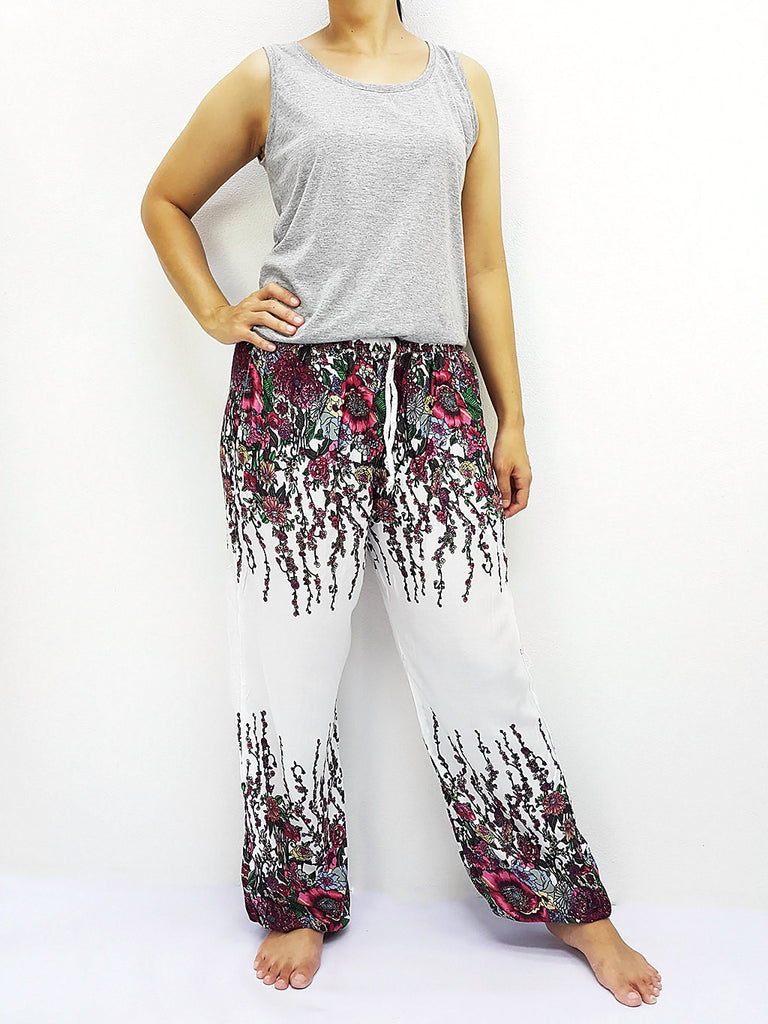 ST140 Thai Women Clothing Comfy Rayon Bohemian Trousers Hippie Baggy Genie Boho Pants Flower White