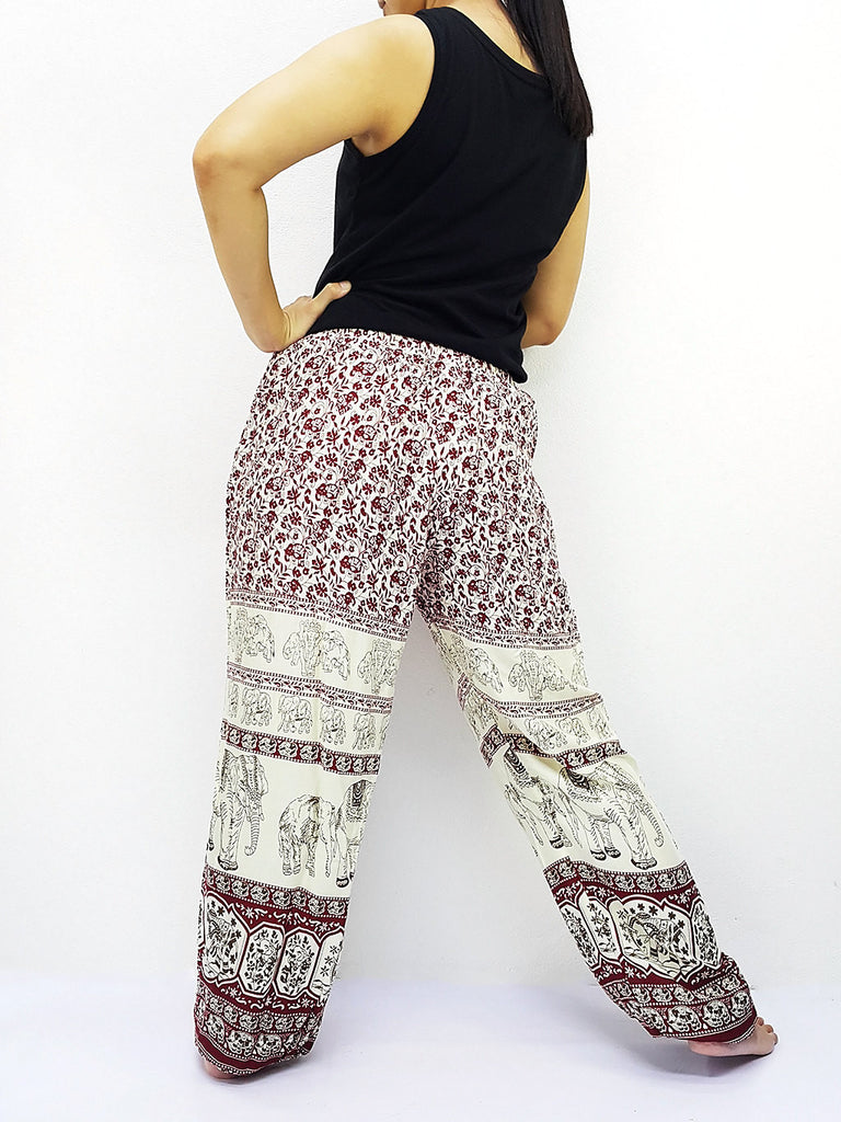 ST151 Thai Women Clothing Comfy Rayon Bohemian Trousers Hippie Baggy Genie Boho Pants Elephant Dark Red