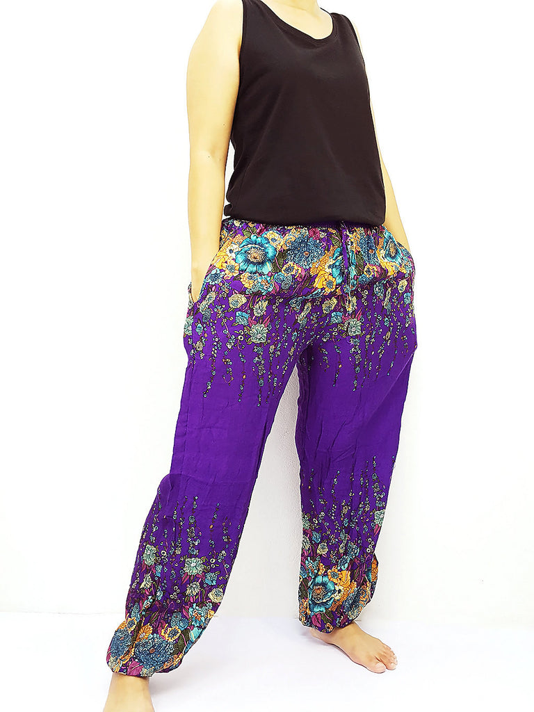 ST135 Thai Women Clothing Comfy Rayon Bohemian Trousers Hippie Baggy Genie Boho Pants Flower Purple