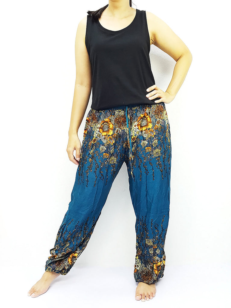 ST136 Thai Women Clothing Comfy Rayon Bohemian Trousers Hippie Baggy Genie Boho Pants Flower Green Teal