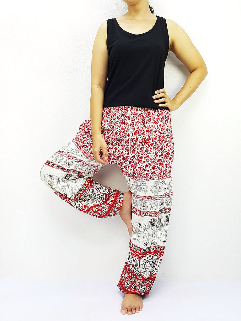 ST148 Thai Women Clothing Comfy Rayon Bohemian Trousers Hippie Baggy Genie Boho Pants Elephant Red