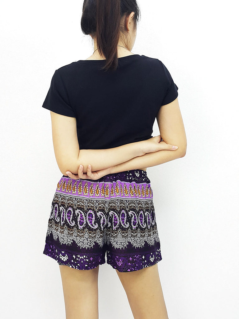 Women Rayon Pants Mini Shorts Bohemian Hippie Beach Clothing Paisley Purple Violet (S83)