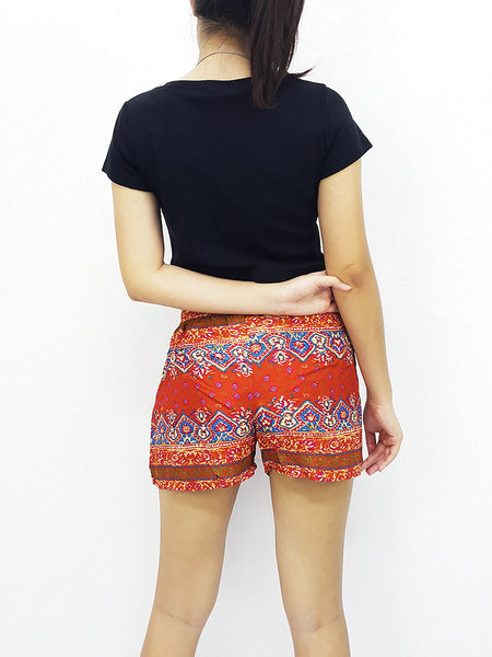Rayon Shorts Bohemian Hippie Beach Tiger Burnt Orange (S93), NaughtyGirl, HaremPantsThai