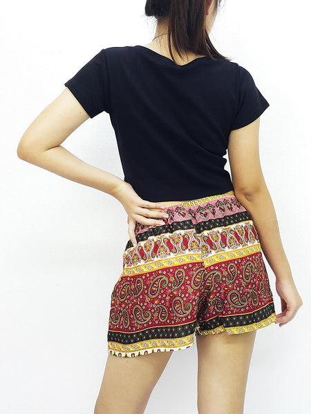 Women Rayon Pants Mini Shorts Bohemian Hippie Beach Clothing Paisley Red (S101)