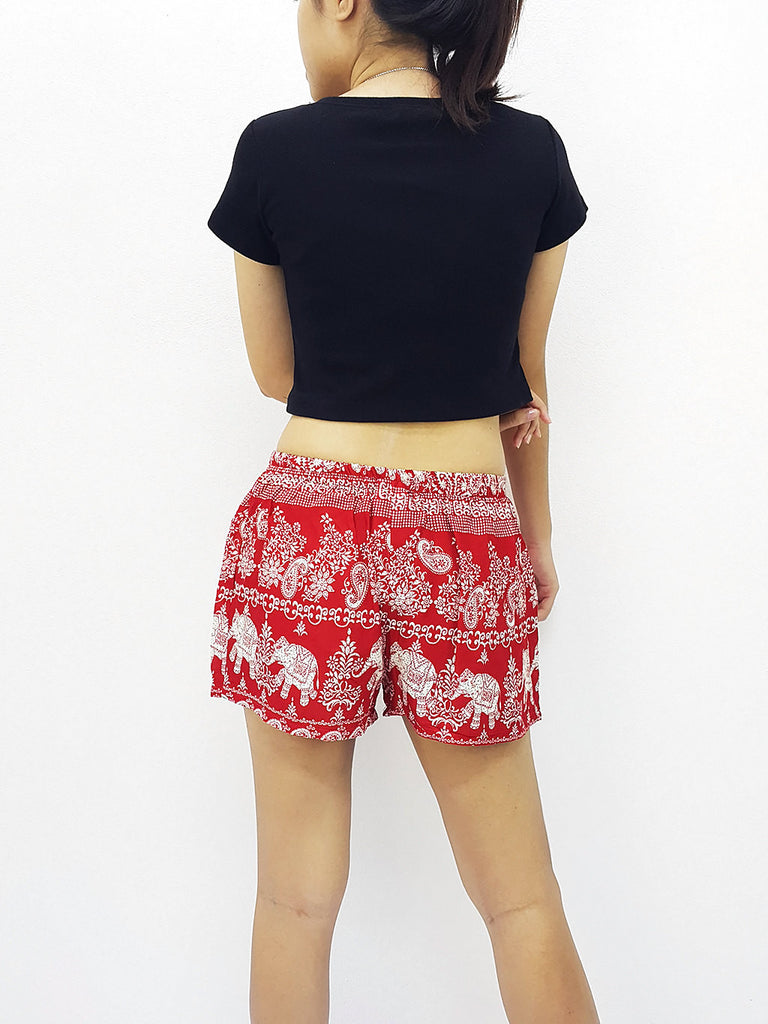 Women Rayon Pants Mini Shorts Bohemian Hippie Beach Clothing Elephant Red (S61)