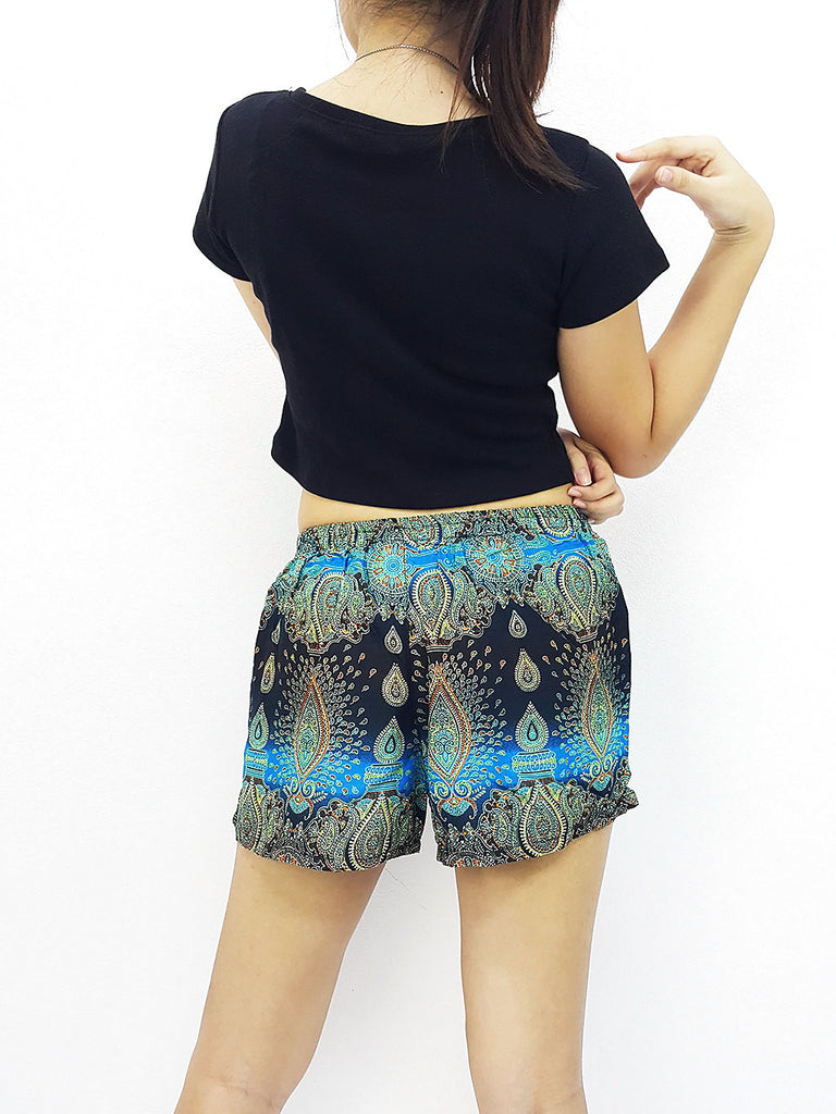 Women Rayon Pants Mini Shorts Bohemian Hippie Beach Clothing Paisley Blue (S105)