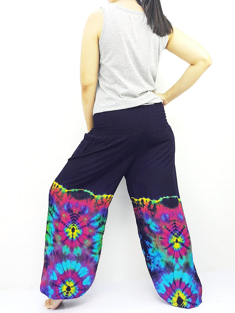 PTT40 Thai Women Clothing Comfy Rayon Bohemian Trousers Hippie Baggy Genie Boho Pants Tie Dye Navy Blue