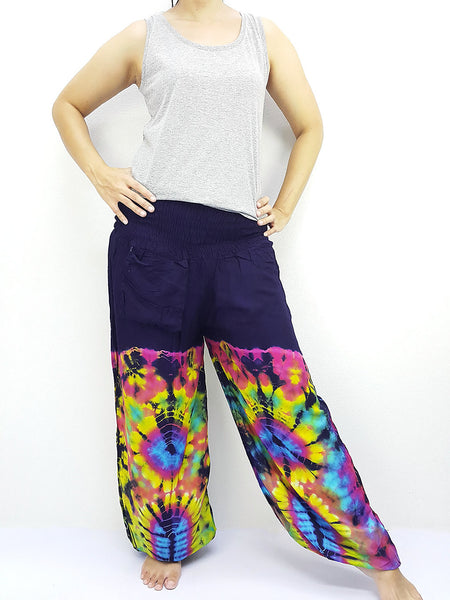 PTT43 Thai Women Clothing Comfy Rayon Bohemian Trousers Hippie Baggy Genie Boho Pants Tie Dye Navy Blue