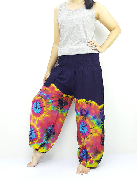PTT44 Thai Women Clothing Comfy Rayon Bohemian Trousers Hippie Baggy Genie Boho Pants Tie Dye Navy Blue