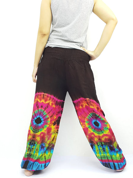 PTT53 Thai Women Clothing Comfy Rayon Bohemian Trousers Hippie Baggy Genie Boho Pants Tie Dye Brown