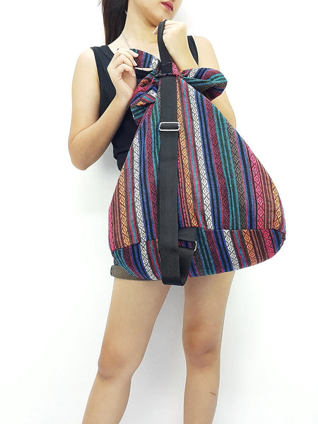 Woven Cotton Bag Single straps Backpack Hobo Boho bag Shoulder School Bag (WF55), VeradaShop, HaremPantsThai
