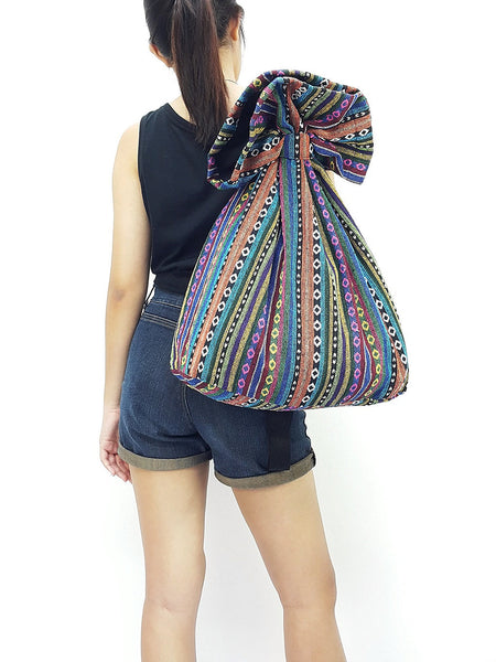 Woven Cotton Bag Single straps Backpack Hobo Boho bag Shoulder School Bag (WF33), VeradaShop, HaremPantsThai