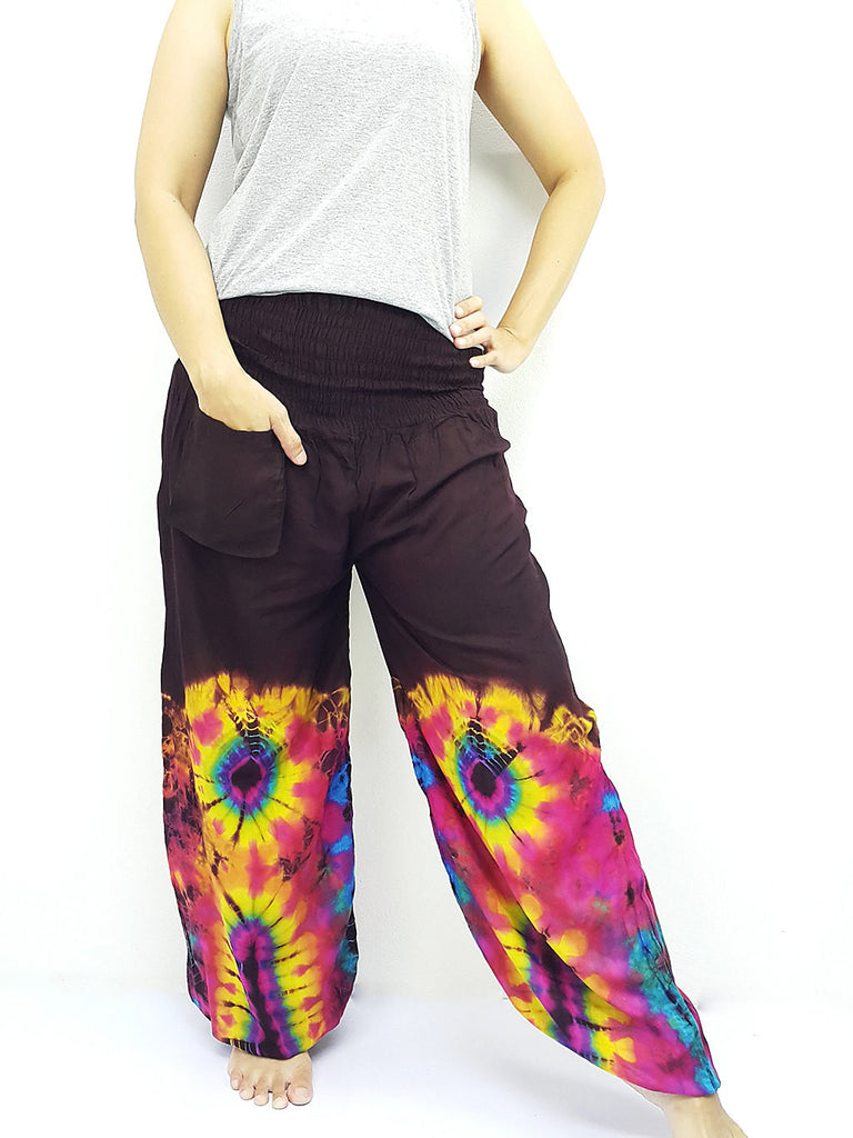 PTT56 Thai Women Clothing Comfy Rayon Bohemian Trousers Hippie Baggy Genie Boho Pants Tie Dye Brown