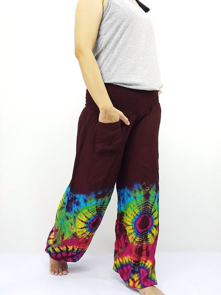 PTT60 Thai Women Clothing Comfy Rayon Bohemian Trousers Hippie Baggy Genie Boho Pants Tie Dye Brown