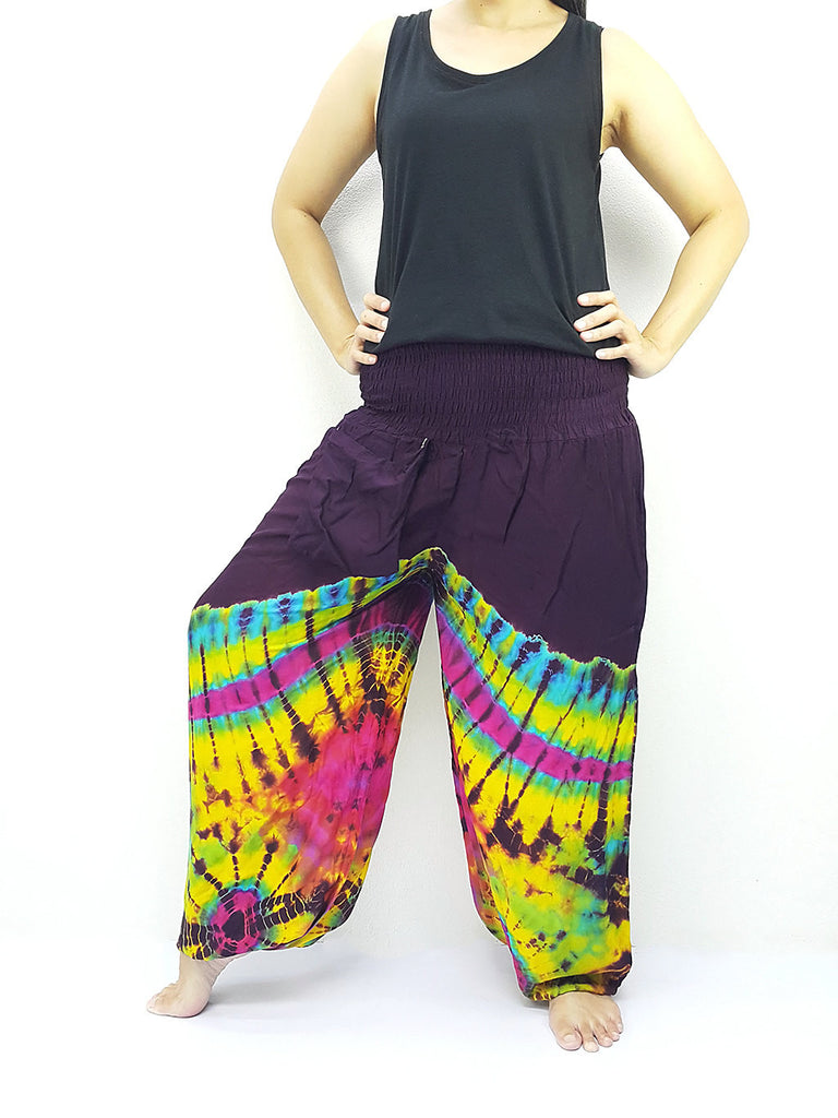 PTT68 Thai Women Clothing Comfy Rayon Bohemian Trousers Hippie Baggy Genie Boho Pants Tie Dye Purple