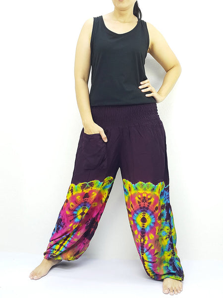 PTT69 Thai Women Clothing Comfy Rayon Bohemian Trousers Hippie Baggy Genie Boho Pants Tie Dye Purple