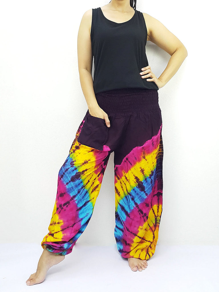 PTT70 Thai Women Clothing Comfy Rayon Bohemian Trousers Hippie Baggy Genie Boho Pants Tie Dye Purple