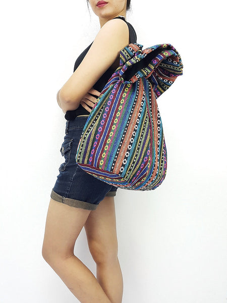 Woven Cotton Bag Single Strap Backpack Hippie Hobo Boho bag Tote Travel Bag School bag Women bag Handbags Shoulder One Strap Backpack (WF33)