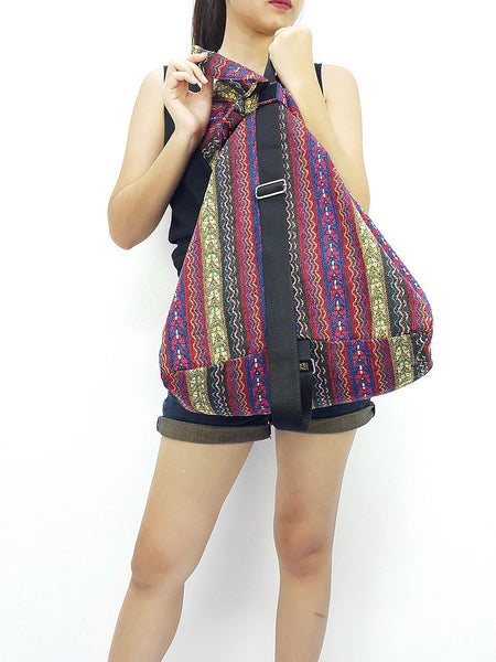 Woven Cotton Bag Single straps Backpack Hobo Boho bag Shoulder School Bag (WF65), VeradaShop, HaremPantsThai